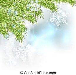 träd, snöflingor, bakgrund, jul