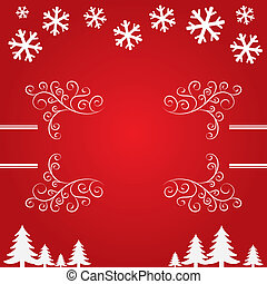 träd., snöflingor, bakgrund, jul
