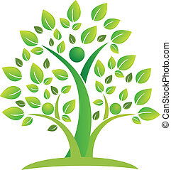 träd, teamwork, folk, symbol, logo
