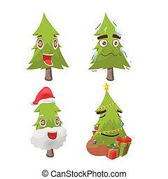 träd, tecken, jul, vektor, nöje, tecknad film
