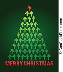 träd, tema, jul, affär, pil