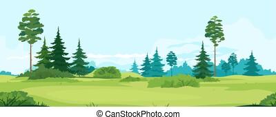 träd, tillable, dal, horisontalt, grön