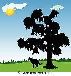 träd, under, parkera, katt