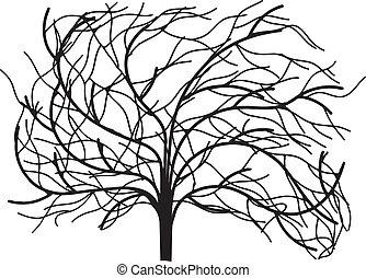 träd, utan, bladen