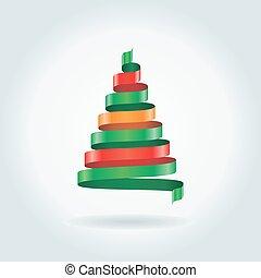 träd., vektor, band, julkort