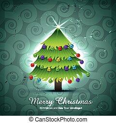 träd, vektor, design, jul