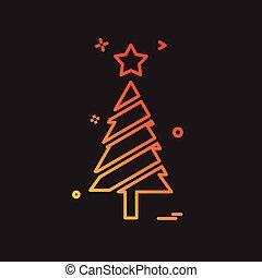 träd, vektor, design, jul, ikon