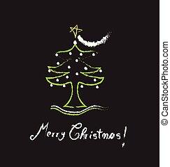 träd, vektor, design, jul, isolerat