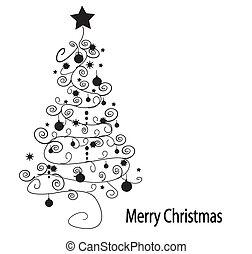 träd., vektor, jul