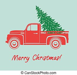 träd, vektor, lastbil, jul, pickupen, leverans, årgång