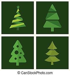 träd, vektor, sätta, jul, ikon
