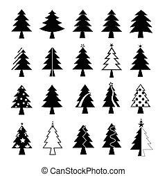 träd, vektor, sätta, jul