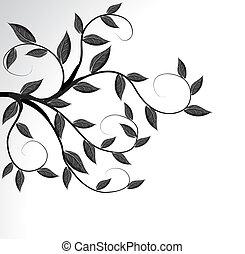 träd, vektor, silhuett, filial