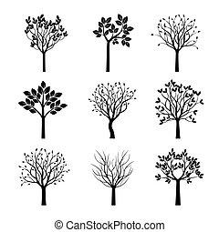 träd., vektor, svart, illustration., kollektion