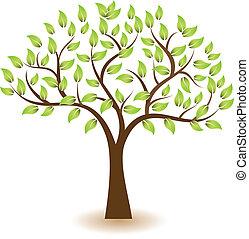 träd, vektor, symbol, logo