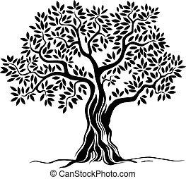 träd, vridet, snabel
