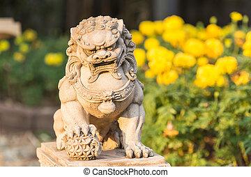 trädgård, årgång, sandsten, lejon, stå, staty