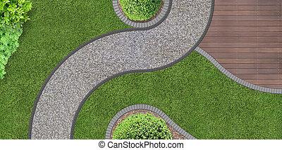 trädgård, från över
