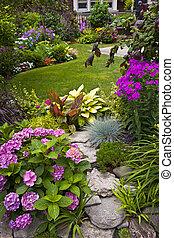 trädgård, och, blomningen