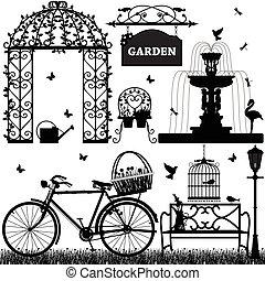 trädgård, parkera, fritids-