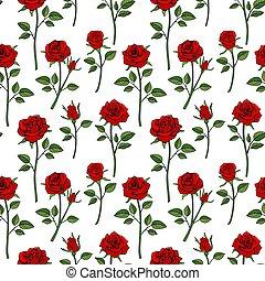 trädgård, ro, seamless, bakgrund., viktorian, engelsk, blom- mönstra