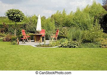 trädgård, stol, yppig, matbord, parasoll