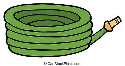 trädgården vattnar med slang, grön