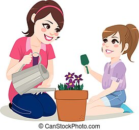 trädgårdsarbete, dotter, mor