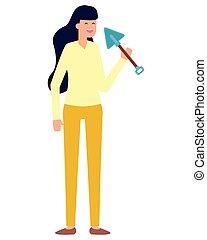 trädgårdsarbete, kvinna, arbete, design, trädgårdsmästare