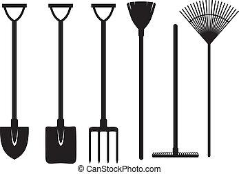 trädgårdsarbete, sätta, redskapen