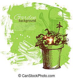 trädgårdsarbete, skiss, design, bakgrund., årgång, hand, ...