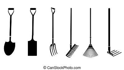 trädgårdsarbete, vektor, redskapen