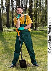 trädgårdsmästare, med, a, spade