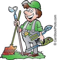 trädgårdsmästare, stående, med, redskapen