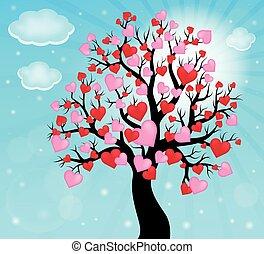 träds siluett, med, hjärtan, tema, 2