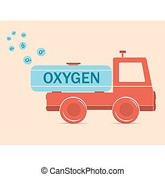 trägt, lastwagen, erythrozyt, sauerstoff