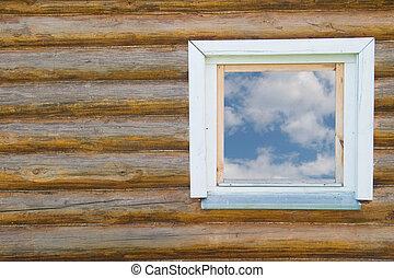 trähus, fönster