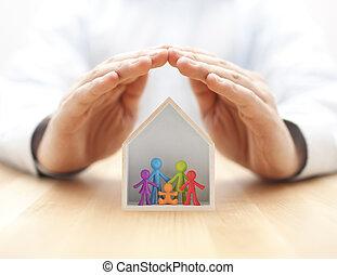 trähus, familj, räcker, färgrik, figuriner, skyddad