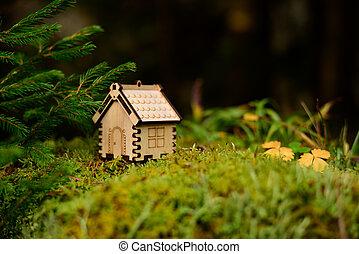 trähus, modell, begrepp, forest.