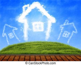 trähus, skyn, terrassera