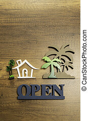 trähus, träd, underteckna, palm, öppna