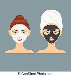 träkol, kvinna, maskera, ung, illustration, kosmetisk, vektor, ansiktsbehandling, lera