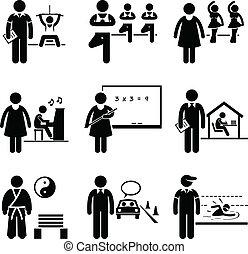 tränare, instruktör, lärare, kaross