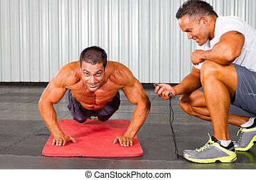 tränare, personlig, gymnastiksal, man, fitness
