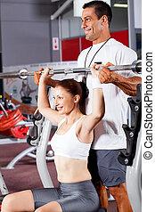 tränare, personlig, kvinna, ung, fitness