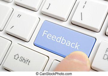 tränga, feedback, nyckel, på, tangentbord