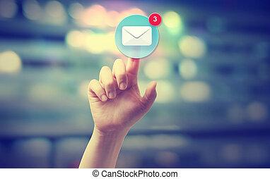 tränga, hand, ikon, email