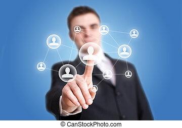 tränga, nätverk, social, ikon, hand