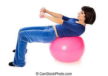 träningen, med, hantlar, på, a, gymnastisk kula