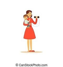 träningen, tecken, fantastisk mamma, barn